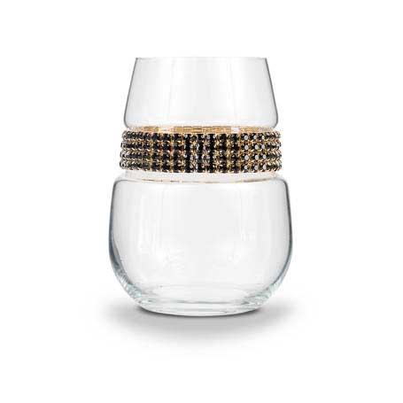BWSGR - Blank Stemless Wine Glass Raven Gold Bracelet