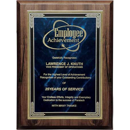 C021A* - Walnut Finish Plaque with Marble Mist