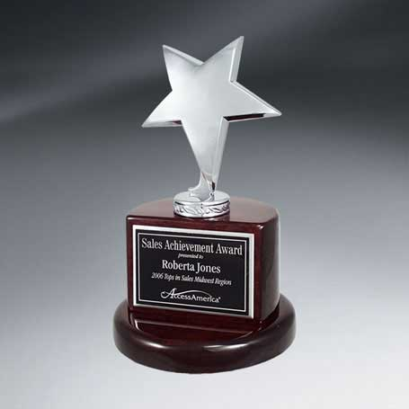 C0633 - Silver Star Trophy on Rosewood Piano Finish Base