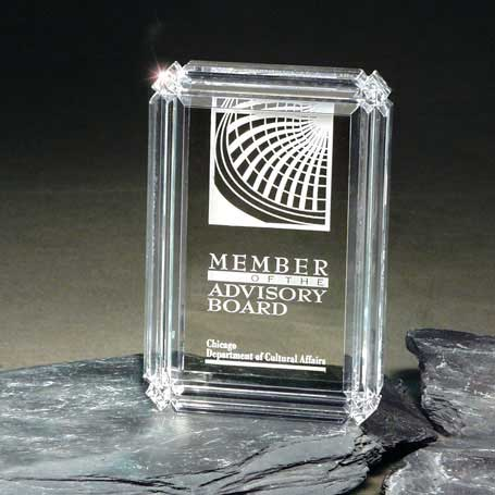 C401 - Clear Diamond Carved Desk Award
