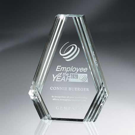 C512 - Clear Diamond Carved Lucite Desk Award