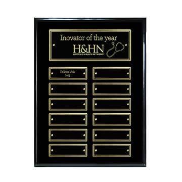 CD1014G - 12-Plate Ebony Piano Finish Plaque - Gold