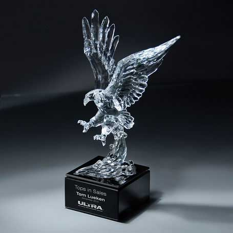 CD386 - Ultra-Light Lucite Sculpted Eagle on Marble Base  (ships unattached from base)