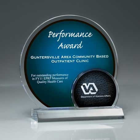 CD636* - Arched Brilliance Lucite Award on Clear Base (Includes Laser in 2 Locations)
