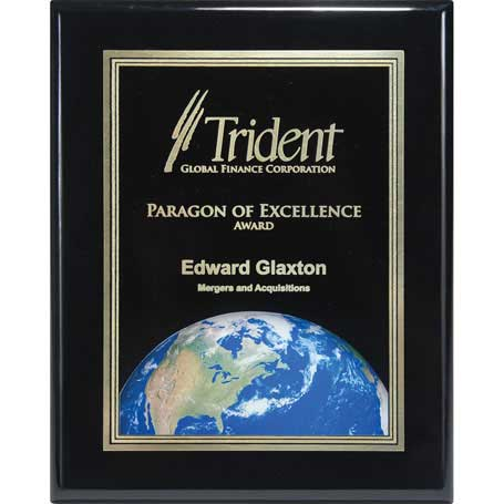 CD794G - Ebony Piano Finish Plaque with Themed Florentine Plate