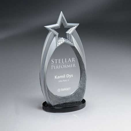 CD827 - Cast Silver Star Array on Lucite Insert
