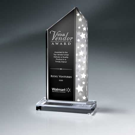 CD859C - Silver Star Stream Lucite on Clear Base - Large