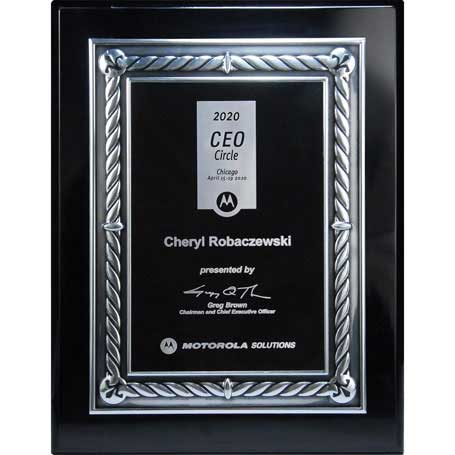 CD894A - Ebony Piano Finish Silver Embossed Rope Border Plaque  with Black Lasered Plate - Medium