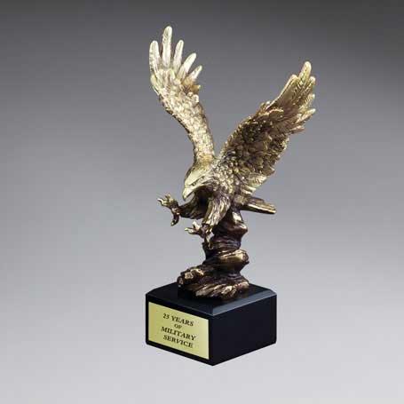 CM221B - Gold Antique Finish Resin Cast Eagle Landing - Medium