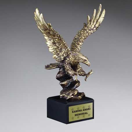 CM221C - Gold Antique Finish Resin Cast Eagle Landing - Large