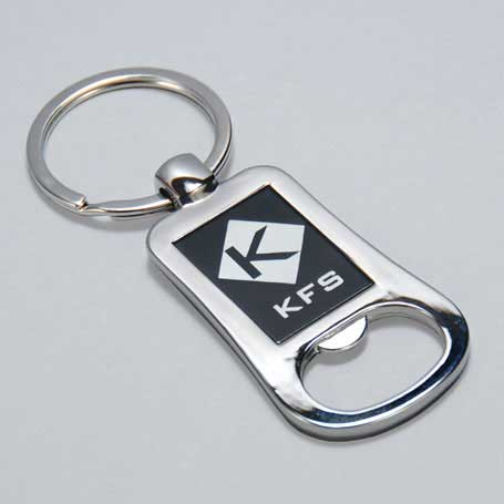 CM235 - Silver and Black Lasered Bottle Opener Keychain