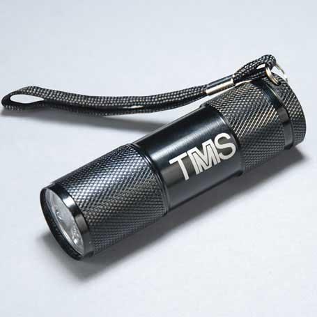 CM239 - Black 9 LED Lasered Flashlight with Strap