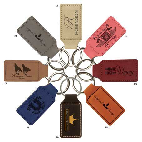 CM245* - Leatherette Rectangle Keychain