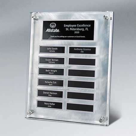 EP10 - Raised Lucite Silver Swirl 12-Plt Plaque  with Easy Perpetual Plate Release Program