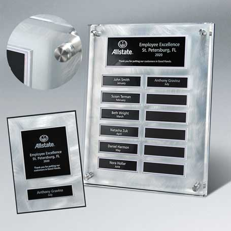 """EP10PKG - Raised Lucite Silver Swirl 12-Plt Plaque  with Easy Perpetual Plate Release Program and 12 Individual 5"""" x 7"""" Companion Plaques"""