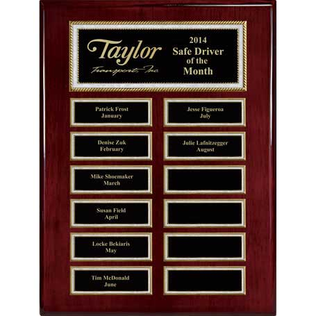 EP5 - Rosewood Piano Finish 12-Plt Pearl Border Plaque  with Easy Perpetual Plate Release Program