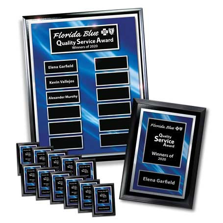 """EP9PK - Ebony Finish 12-Plt Layered Blue and Silver Border Plaque  with Easy Perpetual Plate Release Program  and 12 Individual 5"""" x 7"""" Companion Plaques"""