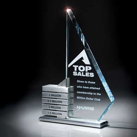 G0606 - Starphire Glass/Aluminum Levels Award (Aluminum Achievement Bars Sold Separately)