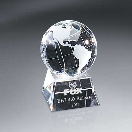 G0713A - Optic Crystal Globe on Base - Small