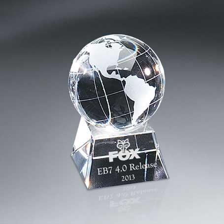 G0713A - Optic Crystal Globe on Base - Small