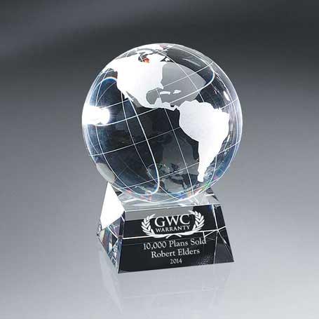 G0713C - Optic Crystal Globe on Base - Large