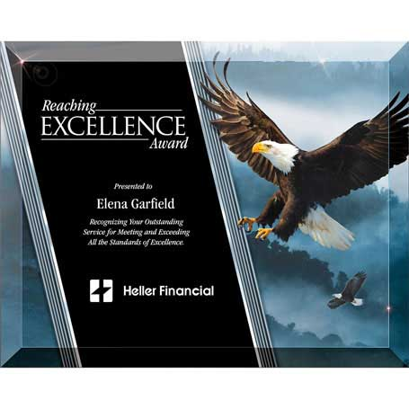 G0970B - Beveled Glass Laser-Through Eagle Plaque with Easel - Large