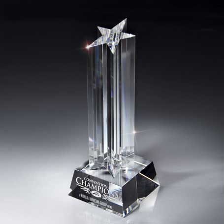 GI09 - Optic Crystal Rising Star on Glass Base