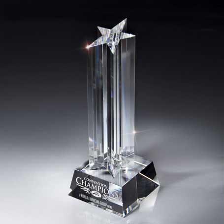 GI09 - Optic Crystal Rising Star on Glass Base