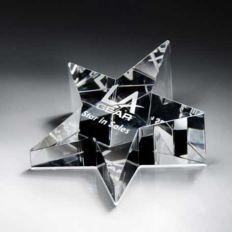 GI10 - Optic Crystal Star Paperweight