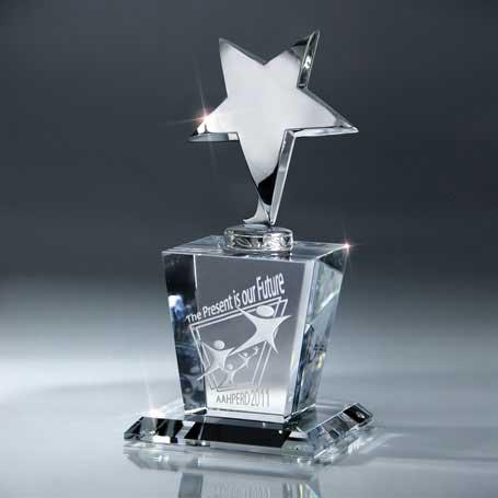 GI16 - Silver Star on Crystal Base