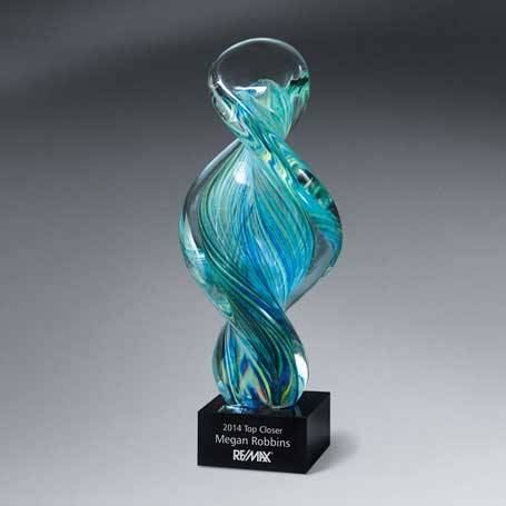 GI206 - Spiral Art Glass on Black Glass Base  (Includes Silver Color-Fill on Base)
