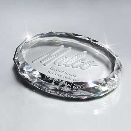 GI31 - Optic Crystal Oval Paperweight