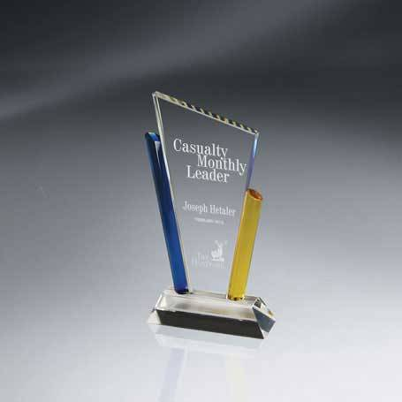 GI516A - Angular Crystal with Blue and Gold Columns - Small