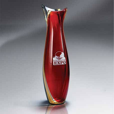 GI569 - Brilliant Red Centerpiece Vase  (Includes Silver Color-Fill)