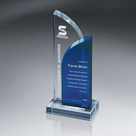 GI570 - Optic Clear and Blue Crystal on Clear Base (Includes Sandblast in 2 Locations and Silver Color-Fill on Blue)
