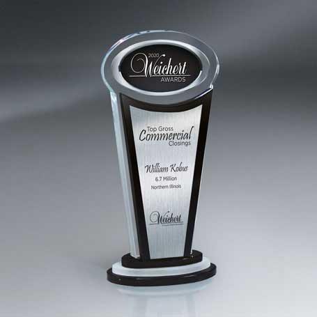 GI571 - Manhattan Crystal Award with Digi-Color Ovaland Silver Lasered Plate