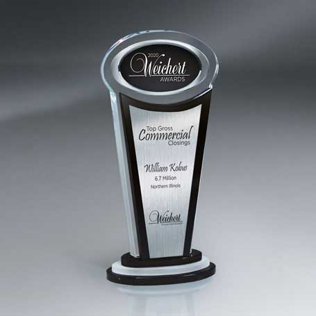GI571 - Manhattan Crystal Award with Digi-Color Oval and Silver Lasered Plate