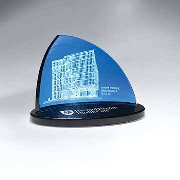 GI654B - Blue Crescent Glass on Black Oval Glass Base - Large                   (Includes Color-Fill in Both Areas)