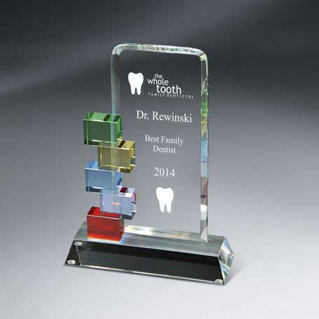 GM401A - Optic Crystal Cornerstone Excellence Award - Small