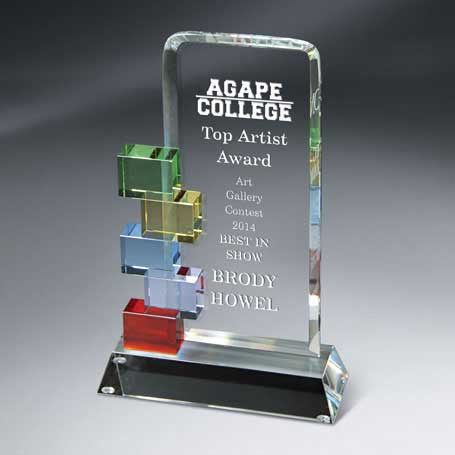 GM401C - Optic Crystal Cornerstone Excellence Award - Large