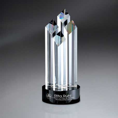 GM429 - Optic Crystal Diamond Spires on Black Glass Base (Includes Silver Color-Fill on Base)
