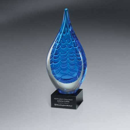 GM435C - Indigo Stream Art Glass - Large (Includes Silver Color-Fill on Base Only)
