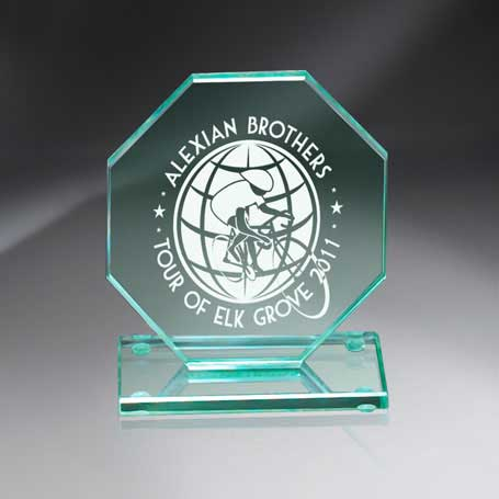 GM444B - Premium Jade Glass Octagon on Base - Medium