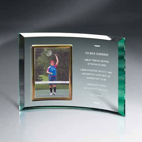 """GM454C - Jade Glass Crescent with 5"""" x 7"""" Frame"""