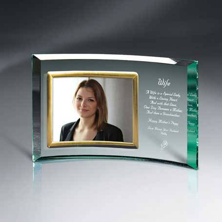 "GM455B - Jade Glass Crescent with 7"" x 5"" Frame"