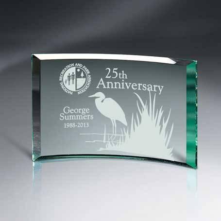 GM456A - Beveled Jade Glass Crescent Plaque