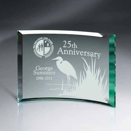 GM456D - Beveled Jade Glass Crescent Plaque
