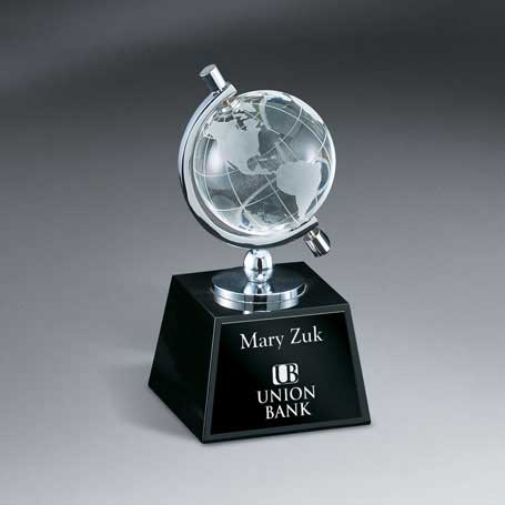 GM461 - Optic Crystal Globe in Semi-Meridian Holderon Black Glass Base with Lasered Plate