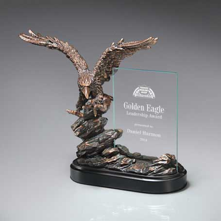 GM549 - Landing Bronze Antique Resin Eagle with Crystal Tablet