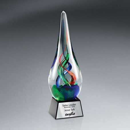 GM577 - Colorful Art Glass Award on Black Glass Base  with Silver Lasered Plate